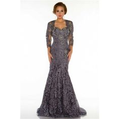 Formal Mermaid Sweetheart Long Charcoal Grey Lace Beaded Evening Dress With Sleeves Jacket