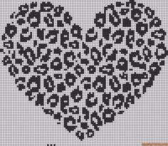 Alpha friendship bracelet pattern added by heart cheetah print love. Knitting Charts, Knitting Stitches, Knitting Patterns, Cross Stitch Silhouette, Tapestry Crochet Patterns, Bargello Quilts, Fillet Crochet, Knit Pillow, Cross Stitch Heart