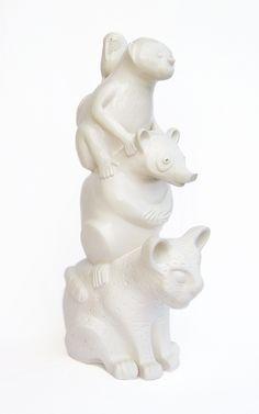 Ceramic hand built  sculpure. Totem America ( South ) Work by Aura Kajas, 2016