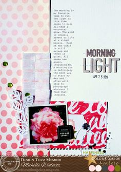 Layout by Michelle Wedertz for Color Combo Challenge #251: pink - blush - onyx - rose - olive; #colorcombosgalore; #ccg251