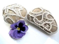 Crochet  Lace stones Nature  Table  Wedding decoration by MINTOOK, $32.00