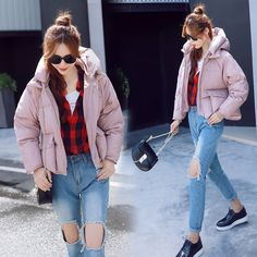 47.56$  Watch now - http://alilgn.worldwells.pw/go.php?t=32752448367 - Winter clothes all Korean Short bread, wind lady new design fashion jacket cotton loose thickened down plus size clothing