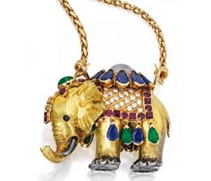 18 KARAT GOLD, SILVER, COLORED STONE AND DIAMOND 'ELEPHANT' PENDANT-NECKLACE, RENÉ BOIVIN, FRANCE