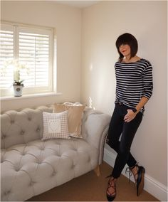 Monochrome stripe breton with zip detailing, cropped distressed jeans and ghillie flats