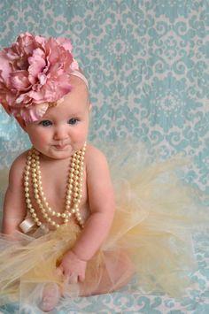 Large Pink Silk Flower Headband Baby by LilysPetalsandPearls