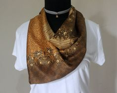 FREE SHIPPING, Batik Silk Scarf, Batik, Batik Scarf, Silk Scarf, Scarves, Shawl, Pasmina, Gold, Rose Gold, Wedding, Gift,Wedding Favors,boho