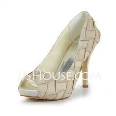 Wedding Shoes - $62.50 - Women's Satin Stiletto Heel Peep Toe Platform Pumps Sandals With Ruffles (047029470) http://jjshouse.com/Women-S-Satin-Stiletto-Heel-Peep-Toe-Platform-Pumps-Sandals-With-Ruffles-047029470-g29470