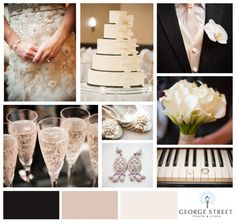 Black and champagne wedding - like the tux champagne color in the top right-hand corner (not TOO gold)