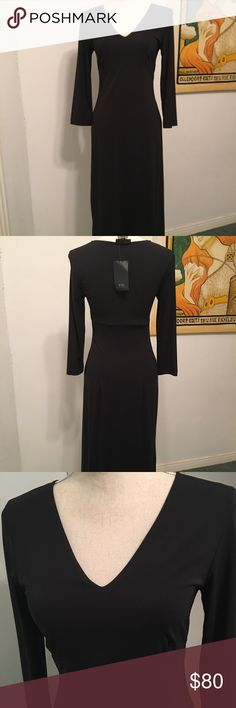 BCBG Max Azria Black midi cocktail dress NWT Med Vintage Brand New With Tags BCBG Max Azria mid length dress size Medium, black v-cut long sleeve, great for cocktail parties, special occasions. Feel free to contact with any questions BCBGMaxAzria Dresses Midi