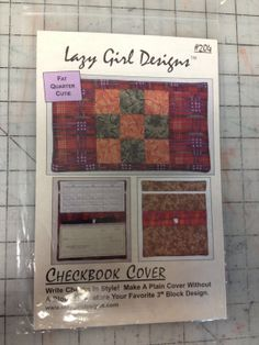 Lazy Girl Designs 204 Checkbook Cover Pattern by sugarkitty, $4.50 Lazy Girl Designs, Checkbook Cover, Block Design, Fat Quarters, Writing, Pattern, How To Make, Bags, Handbags