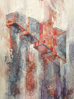 """fabriciomora:   Kinzie byJacob van Loon. (Watercolor, acrylic and graphite on panel.)  """"My work introduces organic, linear elements to geom..."""