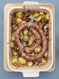 Saucisse de Toulouse, pommes de terre et champignons | Audrey Cuisine