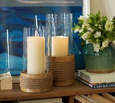 The candles are pretty, but I'm in love with the floral and ceramic vase #potterybarn