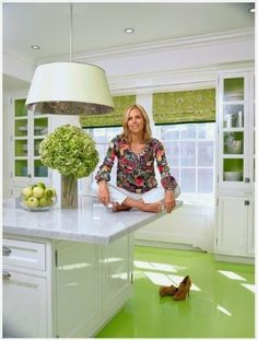 This kitchen is so me!!!! The floor is to die for!!!