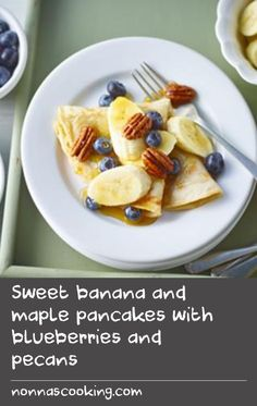 Sweet banana and maple pancakes with blueberries and pecans |      This gluten-free take on the classic pancake is perfect with sliced bananas, berries and toasted nuts. They also work brilliantly with lemon and sugar.  The simple and effective mix of gluten-free flours in this recipe will also work for most baking recipes.Read our guide to supercharging your pancakes.Equipment and preparation: For this recipe you will need a food processor.