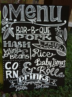 Handwritten Chalkboard Wedding Menu Sign -- I love the idea of doing a menu sign. We're doing a buffet and I don't want too print individual menus for each guest. This feels way less formal. And this one is so pretty! **Nice for an outdoor reception. Wedding Menu Chalkboard, Wedding Food Menu, Chalkboard Signs, Diy Wedding, Wedding Reception, Wedding Ideas, Trendy Wedding, Wedding Chalkboards, Wedding Foods