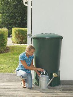 Zbiornik na deszczówkę ROUND 310 w zestawie z podstawą w uniwersalnym zielonym kolorze sprawdzi się w każdym domku jednorodzinnym, tarasie czy działce. To łatwy w instalacji pojemnik, wystarczy podpiąć go do rynny za pomocą rurki łączeniowej i czekać na deszcz. Pojemność 310 litrów wystarczy na podlanie roślin w Twoim domu i ogrodzie. Compost, Canning, Composters, Conservation