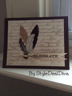 Feathered Celebrate Card by StyleDealDiva on Etsy
