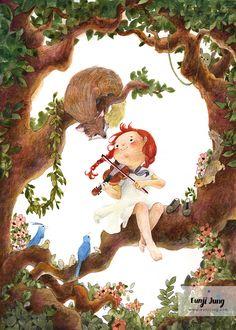 A girl playing violin Art Print by Eunji Jung - X-Small Violin Drawing, Violin Art, Children's Book Illustration, Character Illustration, Girl Playing Violin, Whimsical Art, Cute Art, Fantasy Art, Drawings