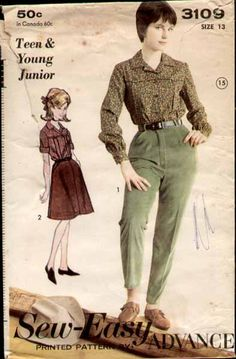 vintage 1964 Advance Western pants and shirt, skirt for older girl, teen