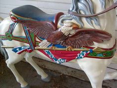 Dentzel OSR Eagle Stander American Bald Eagle with flag trappings 4 Available. One in paint, 3 in primer. Mold taken from the original in the Knott's Berry Farm/Bud Hurlbut Carousel Collection. Ride quality.