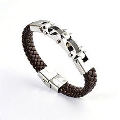 men jewelry men bracelet leather bracelet titanium fashion male vintage jewelry 316L Stainless Steel bracelet