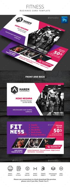 Fitness Business Card by monggokerso | GraphicRiver