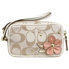Rare NWT COACH 61560 limited Edition Leather FLORAL APPLIQUE POUCH Wristlet Bag