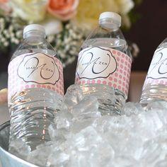 Monogram Polka Dot Waterproof Water Bottle Labels