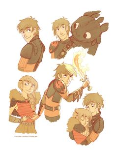 Hiccup, Astrid and Toothless