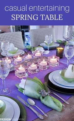 Looking for spring tablescape ideas that are simple but elegant? This lavender tablecloth at my spring themed party has a little secret. Fall Table Settings, Elegant Table Settings, Thanksgiving Table Settings, Beautiful Table Settings, Home Renovation, French Table Setting, Scandinavian Christmas Trees, Reception Table Decorations, Table Setting Inspiration