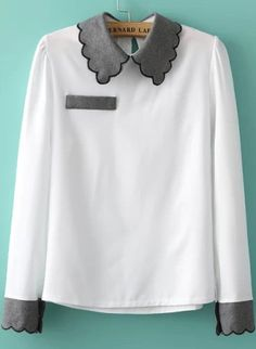 White Contrast Lapel Pocket Loose Blouse