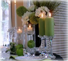 Apple Green, Black & White Tablescape by dining delight, via Flickr
