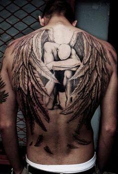 Beautiful fallen angel tattoo