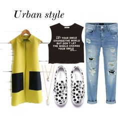 urban style by bius1522 on Polyvore featuring MANGO and With Love From CA