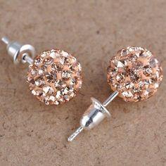 LNRRABC Austrian Crystal Ball Earrings Women Rhinestone Piercing Ear Studs Statement Christmas Gifts Valentine's Day present