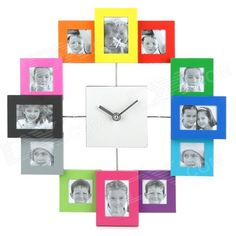 Stylish Aluminum Alloy Photo Frame Quiet Wall Clock - Multicolored (1 x AA)