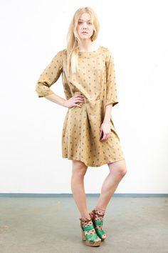 Gold Print Silk Dress