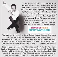 Derek is the male lead for the New York Spring Spectacular❤️