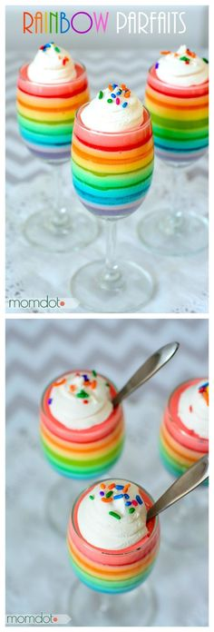Rainbow Jello Parfait , easy 2 Ingredient recipe as a perfect Birthday or Holiday Dessert alternative that is quite beautiful and delicious