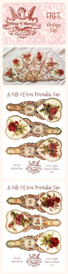Wings of Whimsy: Vintage Fan - A Gift Of Love - free for personal use. @Karin Dalton-Smith Thought you would like this.