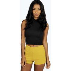 Boohoo Night Sasha Ponte High Waisted Knicker Shorts ($8) ❤ liked on Polyvore featuring shorts, mustard, high rise shorts, high-waisted shorts, high waisted sequin shorts, mini shorts and hot shorts