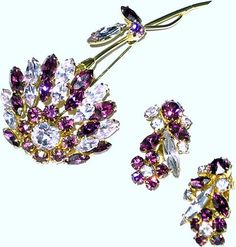 Vintage Sherman Alexandrite & Purple Flower Brooch & Earrings
