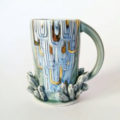 READY TO SHIP Large Sculpted Growing Crystal Cluster Porcelain Mug