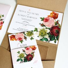 modern botanical wedding invitation suite by vanilla retro ...
