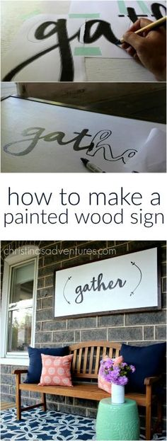 Great DIY tutorial for how to make a large painted wood sign - NO special tools required! Anyone could make this project! by cathy