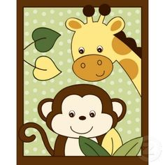 Baby Shower Animal Clip Art | Safari Jungle Animal Nursery Wall Art Print 8X10