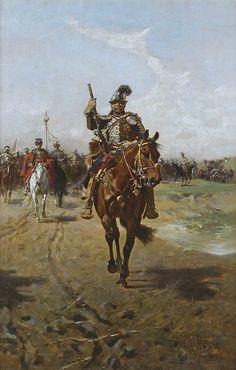 """Józef Brandt  (1841-1915)  """"Husarz na czele oddziałów wojska"""",1905"""