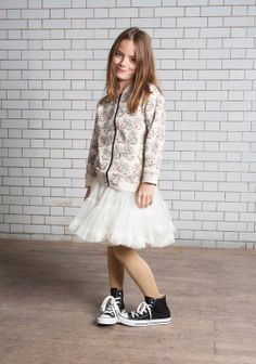 Super cute vintage swan print bomber jacket and cream tutu! Both available from www.ohbabylondon.com