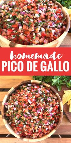 Whip up this homemade Pico de Gallo in minutes and enjoy it as a dip or topping for anything! Whip up this homemade Pico de Gallo in minutes and enjoy it as a dip or topping for anything! Authentic Mexican Recipes, Mexican Food Recipes, Vegetarian Recipes, Cooking Recipes, Healthy Recipes, Ethnic Recipes, Mexican Guacamole Recipe, Best Guacamole Recipe, Healthy Mexican Food